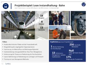 Lumics Projektbeispiel LEAN-Instandhaltung Bahn